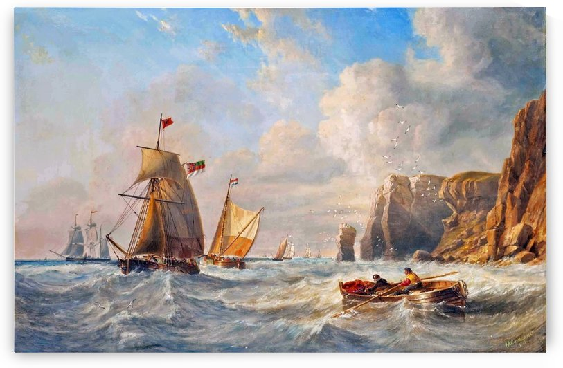 A Breezy Day off Flamborough Head by John Wilson Carmichael