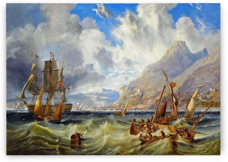 Sailing to Gibraltar by John Wilson Carmichael
