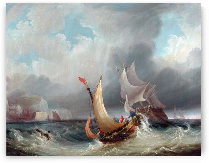Shipping Offshore in a Stormy Sea by John Wilson Carmichael