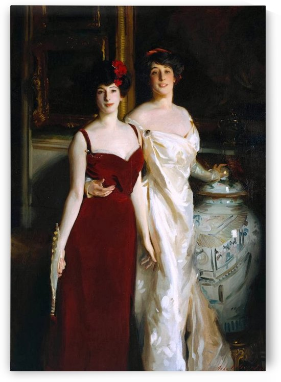 Two women in red and white dresses by Sergei Konstantinovich Zaryanko