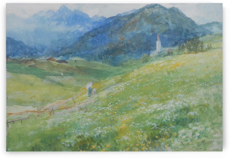 Two people going to the church by John MacWhirter