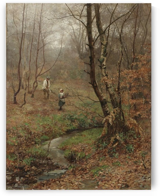People gathering woods in the forest by John MacWhirter