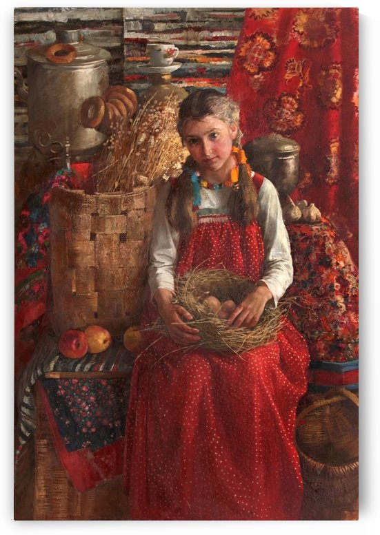 A little girl in a red dress by Sergei Semenovich Egornov