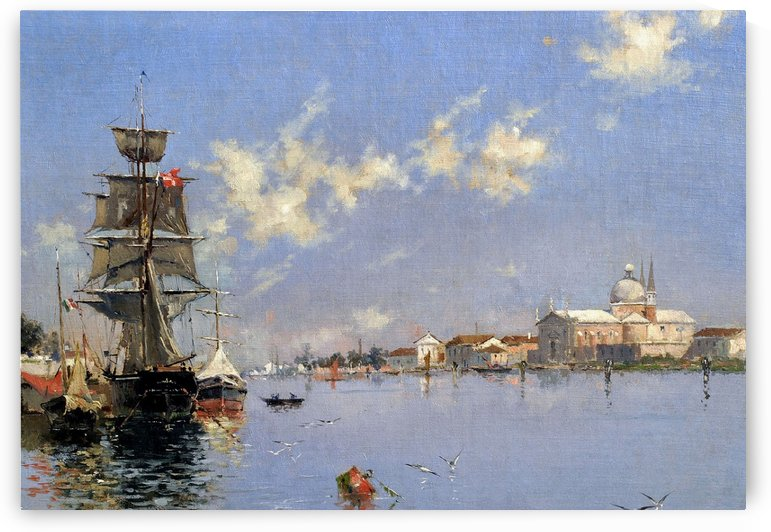 Landscape with boats and birds by Antonio Maria de Reyna Manescau