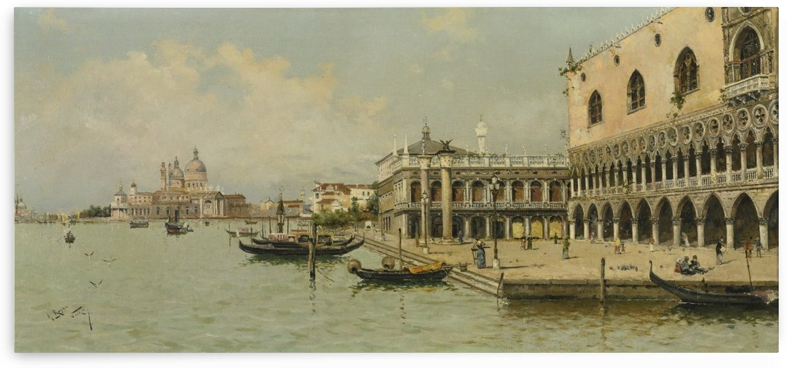 Two boats at the port of Venice by Antonio Maria de Reyna Manescau