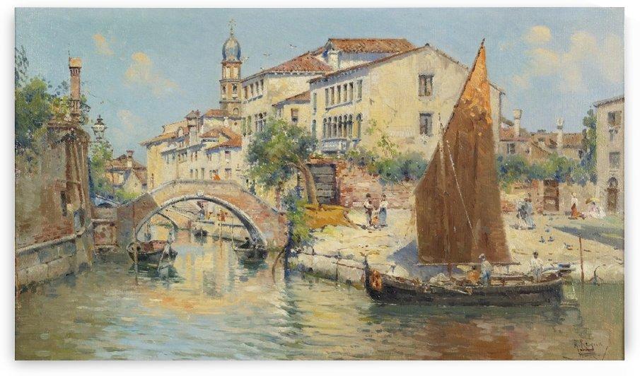A canal in Venice by Antonio Maria de Reyna Manescau