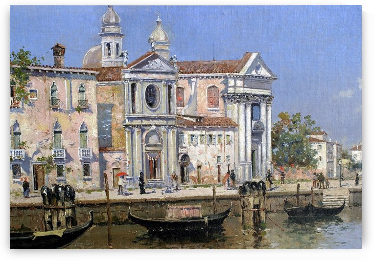 A walk by the canal of Venice by Antonio Maria de Reyna Manescau