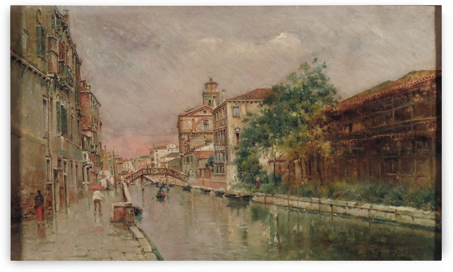 Canale veneziano sotto la pioggio by Antonio Maria de Reyna Manescau