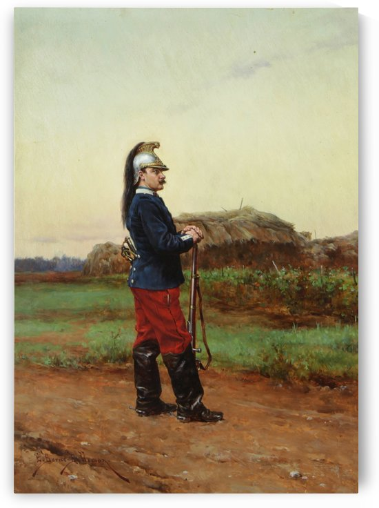 A solider with a metal hat by Etienne-Prosper Berne-Bellecour
