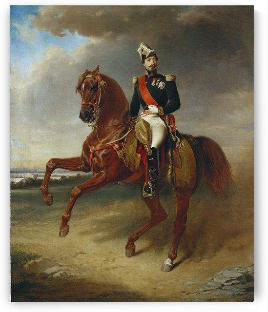 A solider on a brown horse by Etienne-Prosper Berne-Bellecour