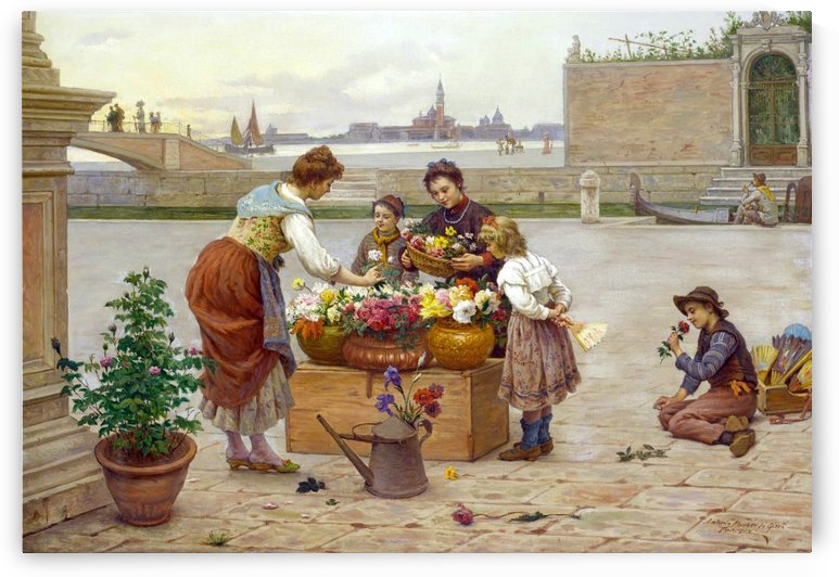 Women and children arranging flowers by Antonio Ermolao Paoletti