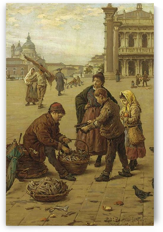 A merchant selling his goods in Venice by Antonio Ermolao Paoletti