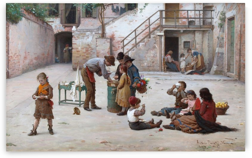 Children playing in the square by Antonio Ermolao Paoletti