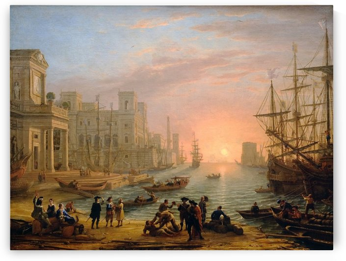 Seaport at sunset (1639) by Claude Lorrain