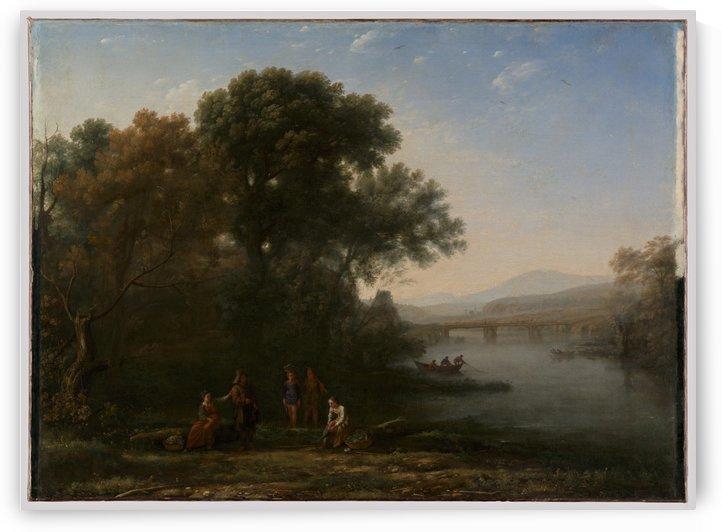 A few people in a lagoon by Claude Lorrain