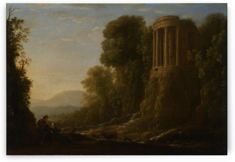 River landscape with Tiburtine Temple at Tivoli by Claude Lorrain