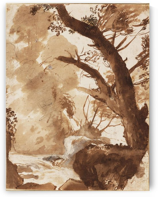 Tree and Rocks by the Water by Claude Lorrain