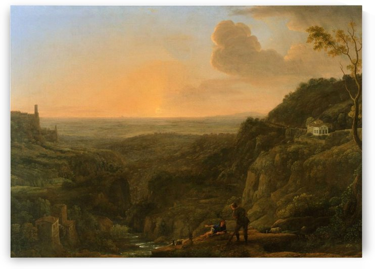 Landscape of a valley and a forrest by Claude Lorrain