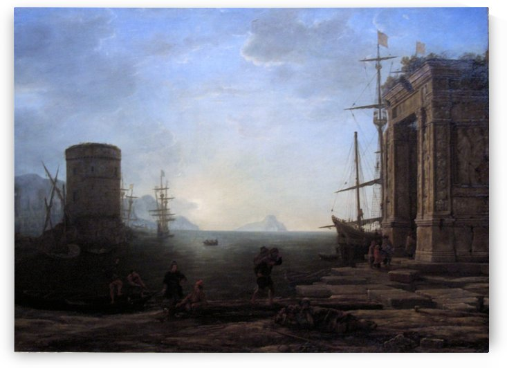Harbour view at sunrise by Claude Lorrain