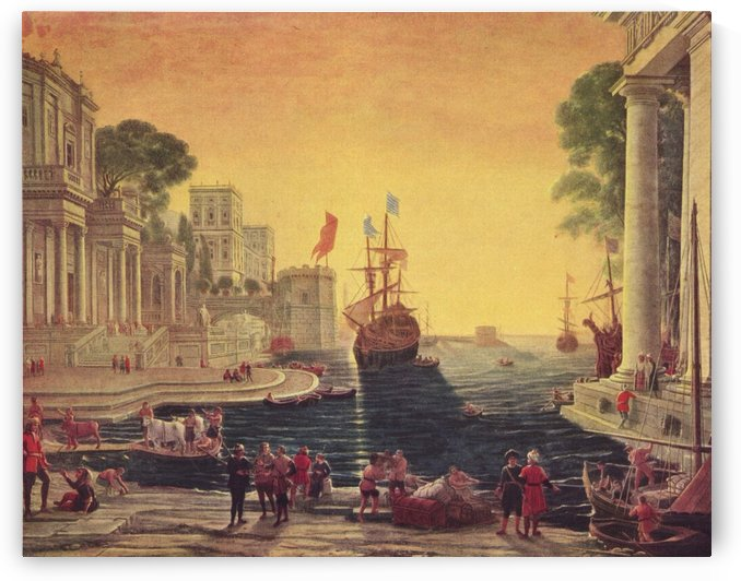 View of a few buildings by the sea by Claude Lorrain