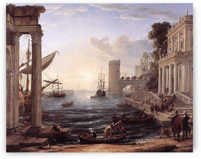 Seaport Embarkation Queen Sheba by Claude Lorrain