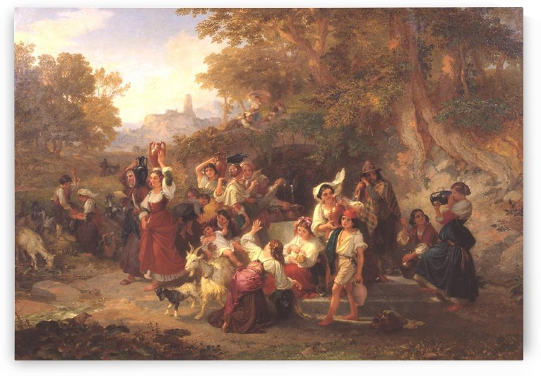 Neapolitan Peasants at a Fountain 1859 by Penry Williams