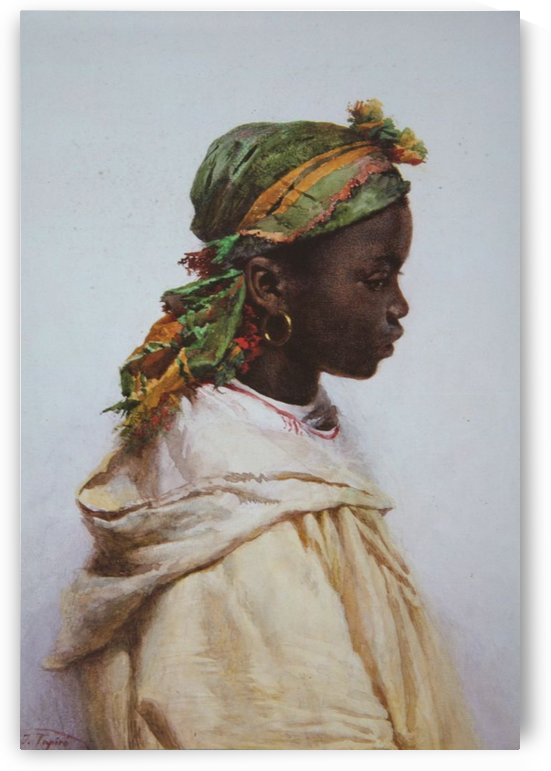 A woman with a green scarf by Josep Tapiro Baro