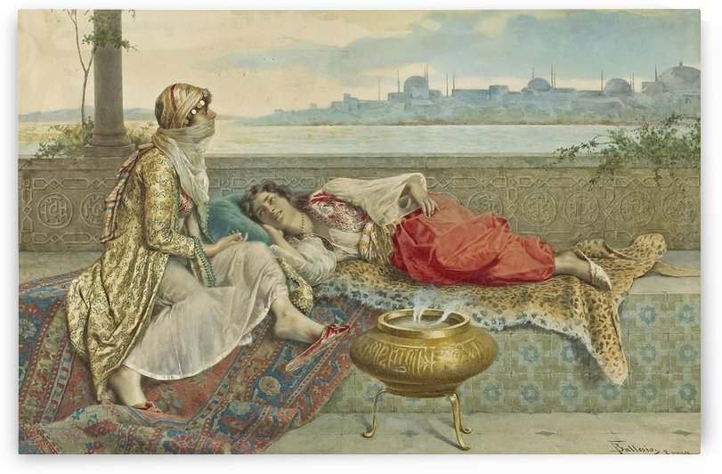Two harem girls on a terrace Constantinople by Francesco Ballesio