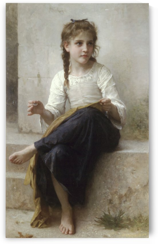A young girl sewing by William-Adolphe Bouguereau