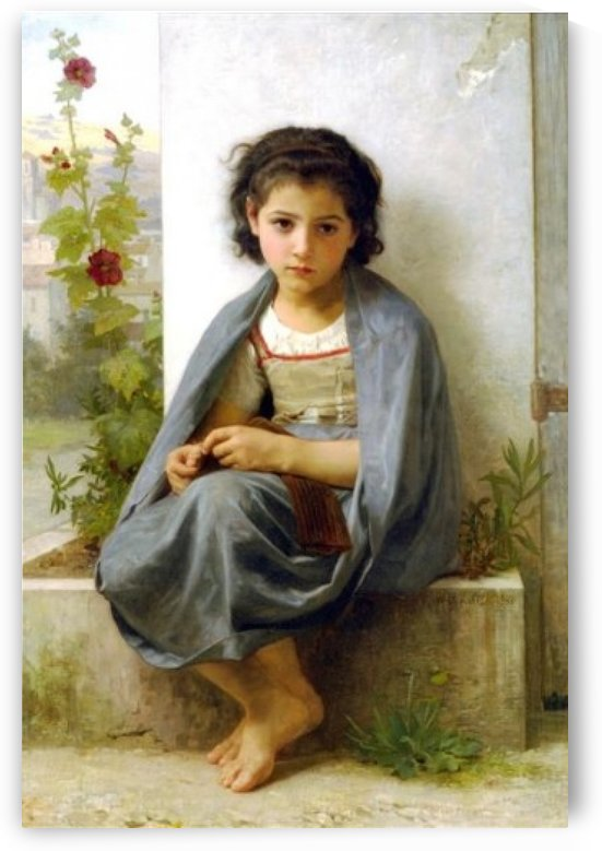 A young girl in a blue coat by William-Adolphe Bouguereau