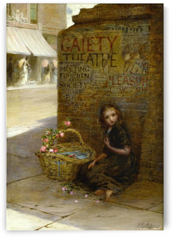 A little girl selling flowers by Augustus Edwin Mulready