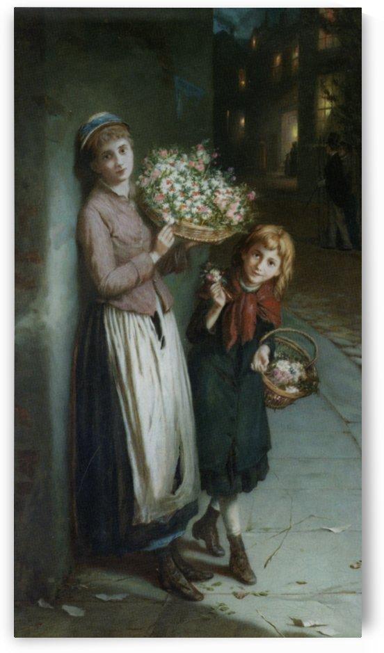 Two girls selling flowers by Augustus Edwin Mulready