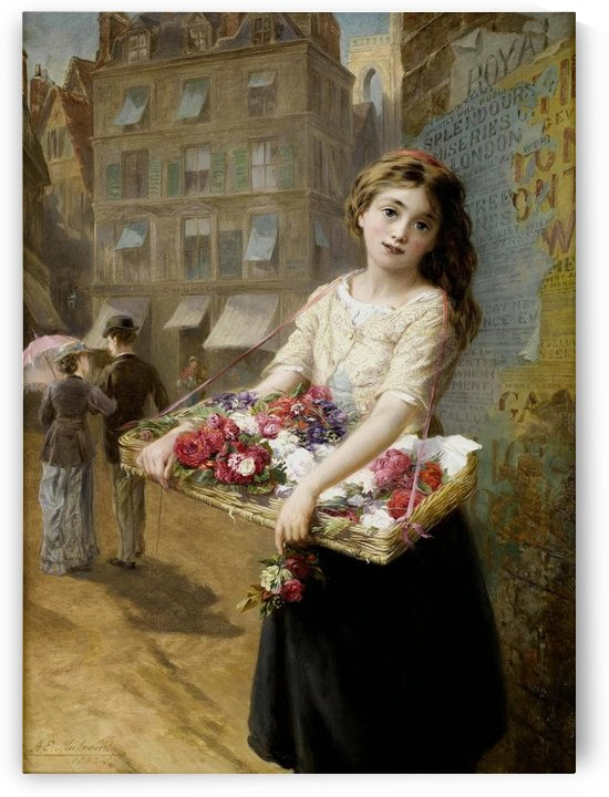 A girl selling roses by Augustus Edwin Mulready
