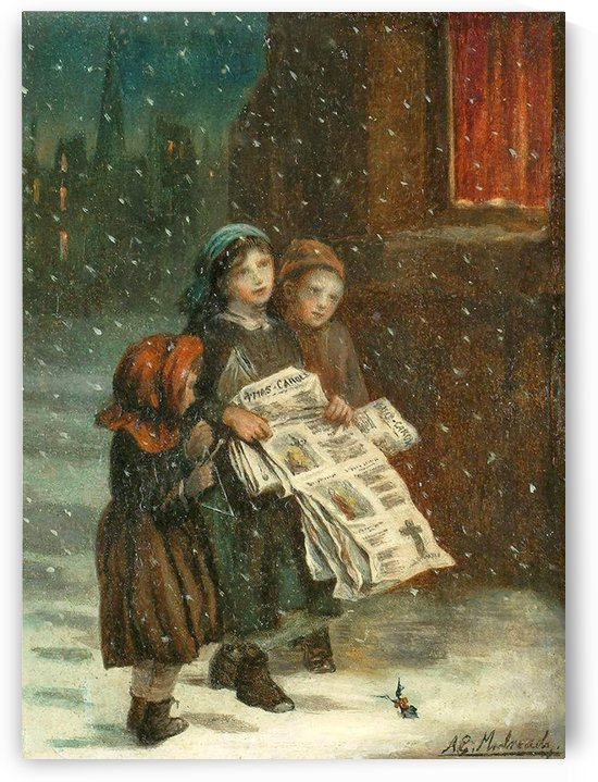 Small children with newspapers by Augustus Edwin Mulready