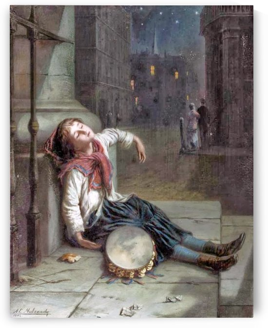 A child sleeping in the moonlight by Augustus Edwin Mulready