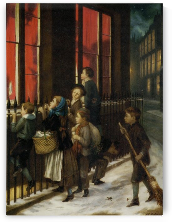 A group of children gazing through the window by Augustus Edwin Mulready