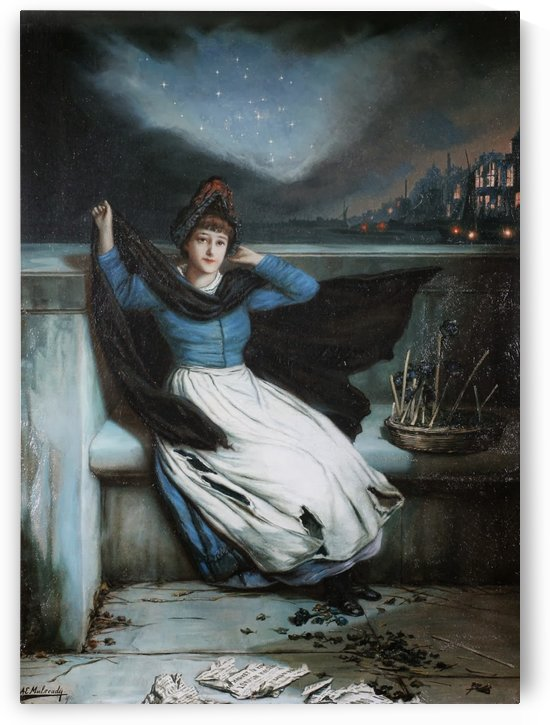 A woman in a blue dress at the edge of a city by Augustus Edwin Mulready