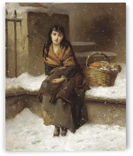 A woman in the snow with a grocery basket by Augustus Edwin Mulready
