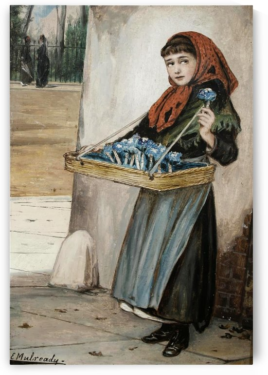 Selling blue flowers by Augustus Edwin Mulready