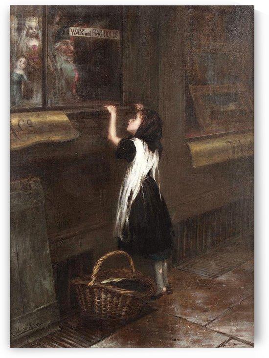A girl in a black dress by Augustus Edwin Mulready