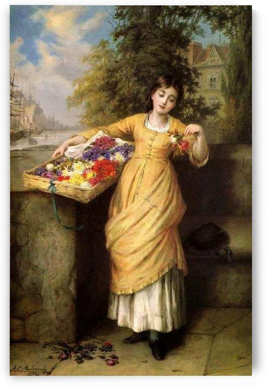 Selling muticolored flowers by Augustus Edwin Mulready