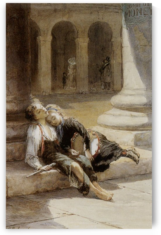 Two tired ministrels by Augustus Edwin Mulready