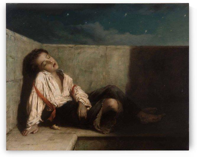 A boy sleeping on the London bridge by Augustus Edwin Mulready