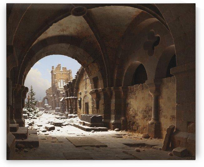 Blick auf die Kirchenruine im Winter by Carl Hasenpflug