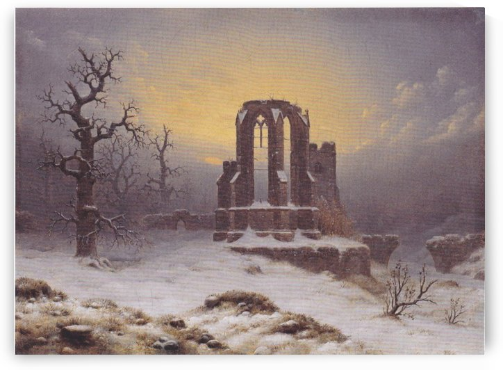 Church Ruine in the Snow by Carl Hasenpflug
