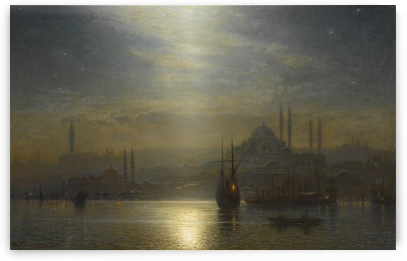 A mosque in the night by Ernst Karl Eugen Koerner
