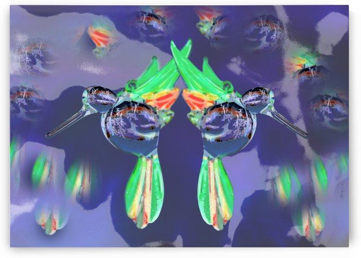 Glass Bird Mirror Image Invert by Linda Brody