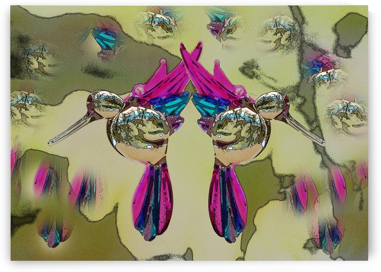 Glass Bird Mirror Image Poster Edges by Linda Brody