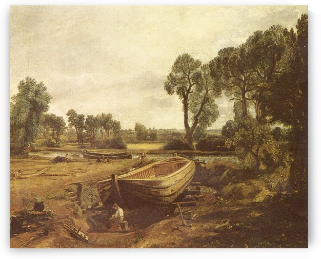 Landscape with a boat and a tree by John Constable