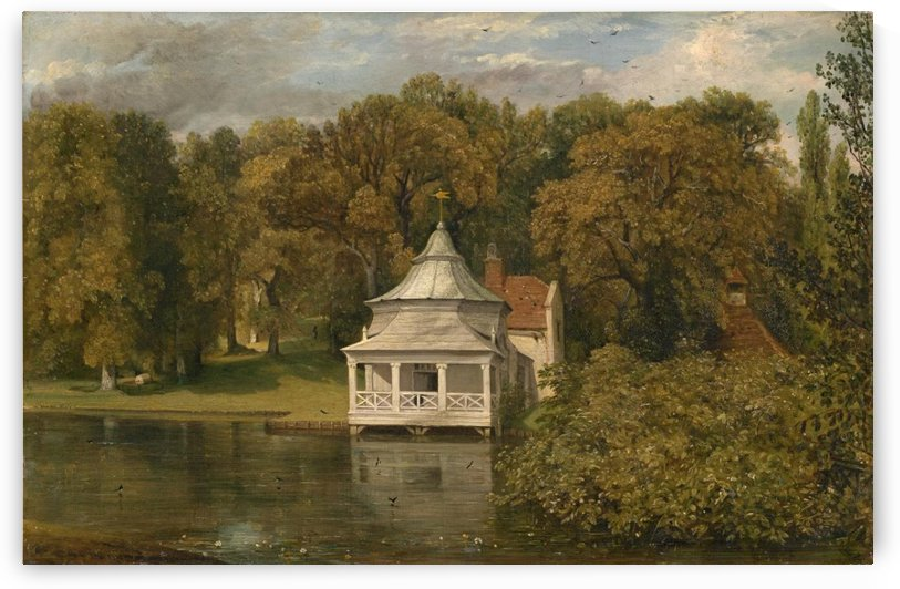 A small white cottage by the river by John Constable